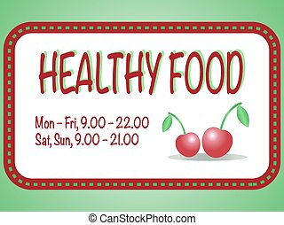 Healthy food store sign. Vector illustration of two red cherries in the square frame with text. Pair of berries are isolated on the white background.