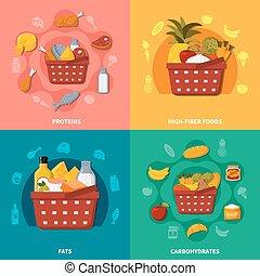 Healthy Food Supermarket Basket Composition - Supermarket...