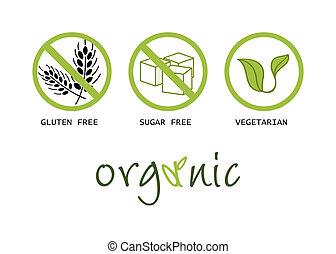 Healthy food symbols - gluten free, sugar free, organic and...