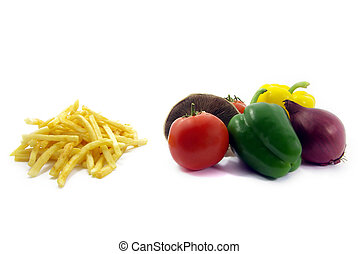 Healthy food, unhealthy food - View of some chips and...