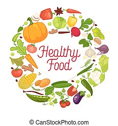 Healthy food vector poster organic vegetables fresh veggies, natural salads spice herbs