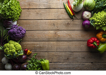 Healthy food, vegetables on a wooden table