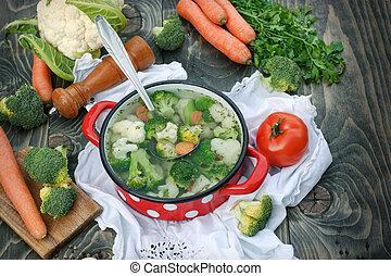 Healthy food, vegetarian food - vegetable soup