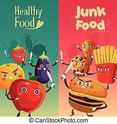 Healthy Food Versus Unhealthy Food - A vector illustration...