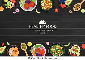Healthy food with ingredients on the dark wooden table background.