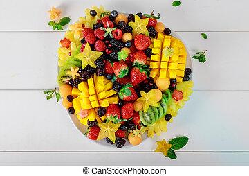 Healthy food with various fresh fruit ingredients, top view
