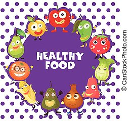 Healthy food with vegetables and fruits