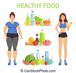 Healthy Food Woman and Meal Vector Illustration - Healthy...