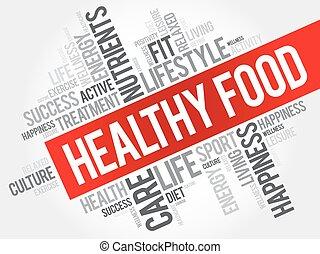 Healthy Food word cloud, health concept