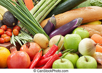 different kind of fresh vegetables and fruits