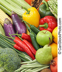 healthy foods - broad variety of fresh vegetables and fruits