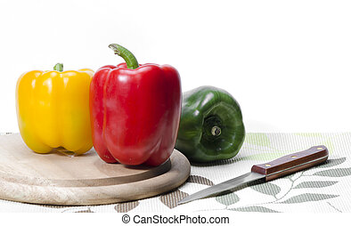 Healthy foods with fruits and vegetables are on the chopping block in the kitchen