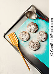 Healthy Fresh Baked Cookies on Baking Tray