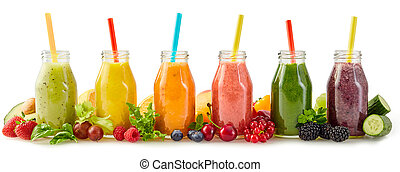 Row of healthy fresh fruit and vegetable smoothies with assorted ingredients served in glass bottles with straws isolated on white in a panorama banner