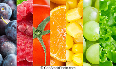 Healthy fresh fruits and vegetables background