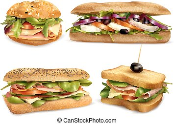 Healthy Fresh Ingredient Sandwiches Realistic Set