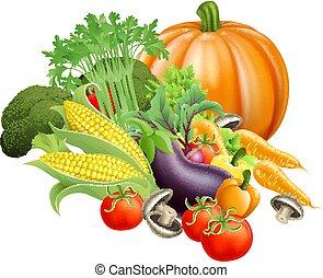 Healthy fresh produce vegetables - Illustration of produce...