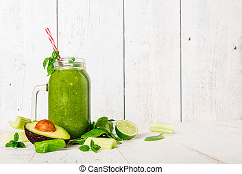 Healthy fresh smoothie with ingredients.