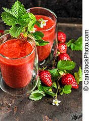 Healthy fresh strawberry smoothie. Vintage style still life
