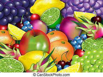 Healthy Fruit - A stylized Illustration of assorted healthy...