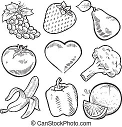 Doodle style healthy fruits and vegetables sketch in vector format. Set includes grapes, strawberry, pear, apple, tomato, heart, broccoli, banana, pepper, and orange
