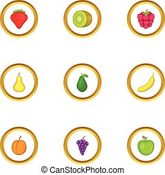 Healthy fruit icons set, cartoon style