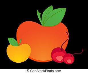 healthy fruit on black background