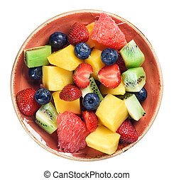 healthy fruit salad isolated on white background. Top view