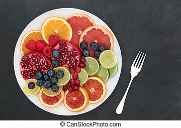 Healthy Fruit Selection - Fresh fruit health food high in...