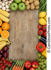 Healthy fruits and vegetables with copyspace