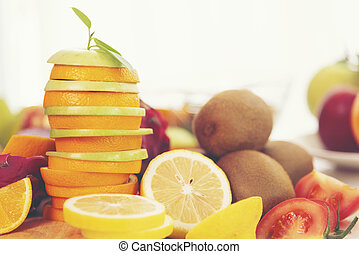 Healthy fruits, fruits background