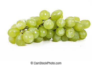 Healthy fruits Green wine grapes with isolated white background. Unwashed big wine green grapes on white background. Green grapes from a supermarket local market. Bunch of grapes ready to eat