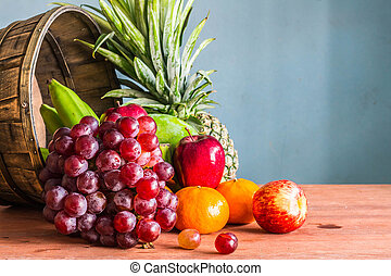 Healthy fruits on a wooden