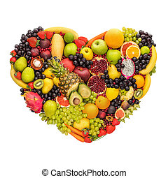 Healthy fruity heart. - Health concept of eating smart; ...