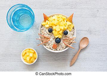 Healthy Funny Cute Breakfast For Kids. Oatmeal Porridge