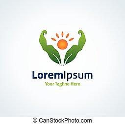 Healthy future market nutrition fitness vector logo icon