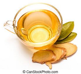 Healthy Ginger Tea Indicates Teacup Fresh And Herbal