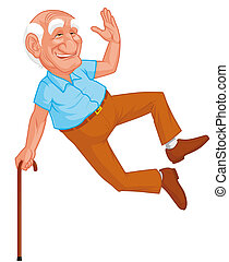 Healthy grandfather jumping -  Healthy grandfather jumping