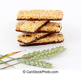 Healthy granola bar on white background