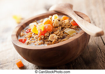 healthy granola with dried fruits for breakfast