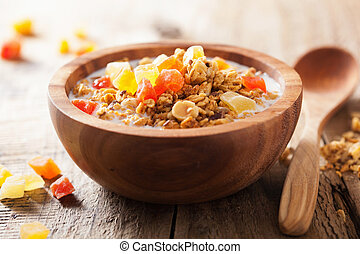 healthy granola with dry fruits for breakfast