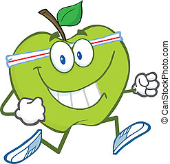 Healthy Green Apple Jogging - Healthy Green Apple Cartoon...