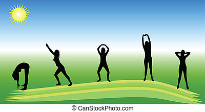 Healthy green background with vector silhouettes of several...