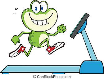 Green Frog Running On A Treadmill