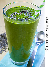 Healthy Green Juice Smoothie Drink - Healthy green fresh...