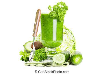 Healthy green juice smoothie - Green vegetable smoothie ...