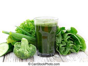 Healthy green juice - Healthy green vegetable juice on...