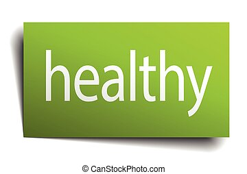 healthy green paper sign isolated on white