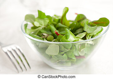 Healthy green salad on a table closeup