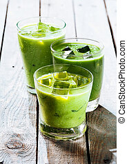 Healthy Green Smoothie Shakes in Drinking Glasses